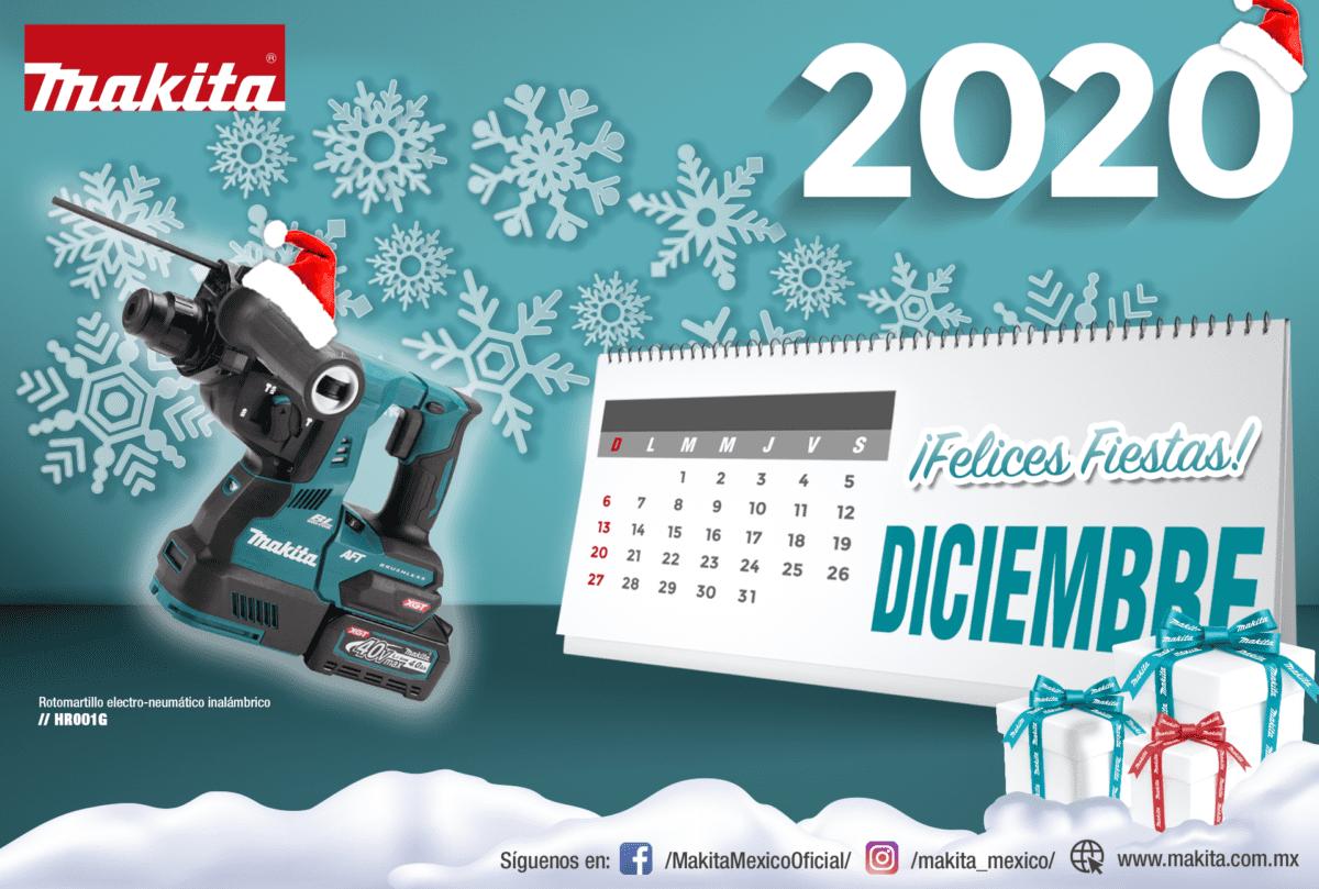 Calendario diciembre 2020 makita